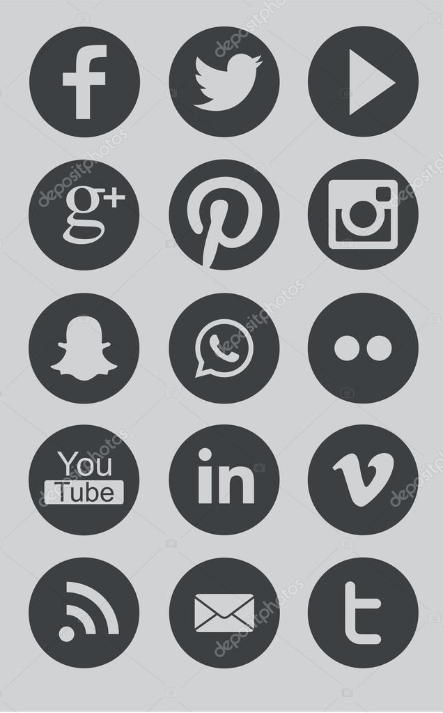 In This Collection Are Round Grey Icon Like Facebook Twitter