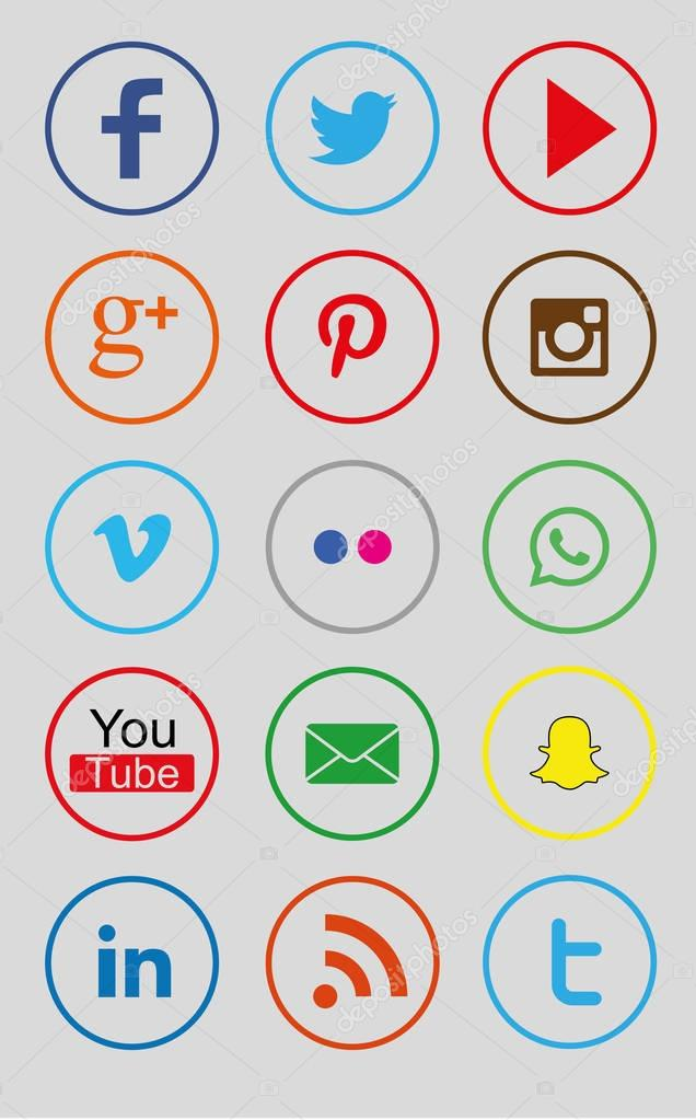 Collectie Cirkel Kleur Sociale Iconen Zoals Facebook Twitter