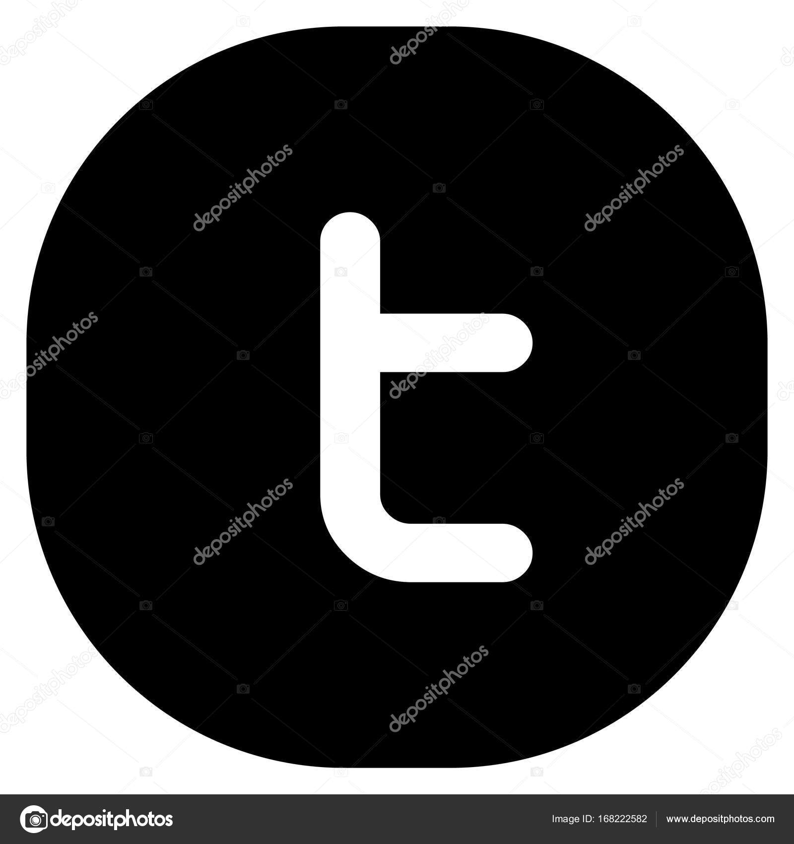 Modern Black Round Square Twitter Icon With Letter T Stock Vector