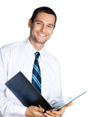 Businessman with folder, on white