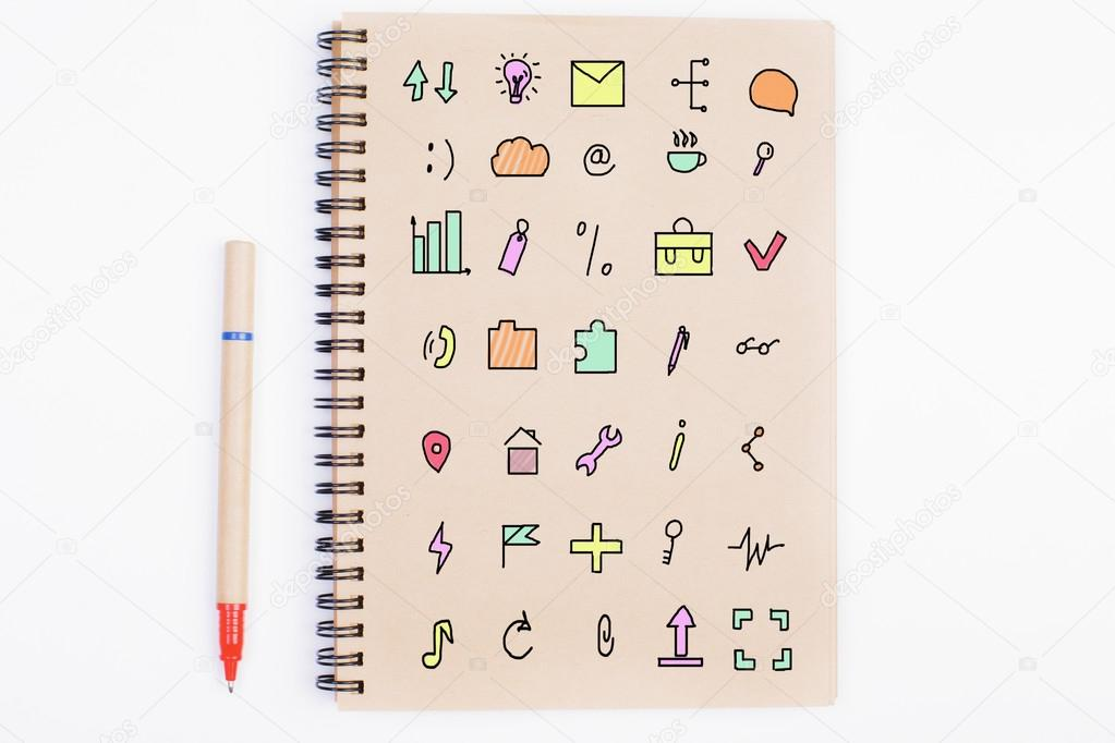 Notepad with social media icons