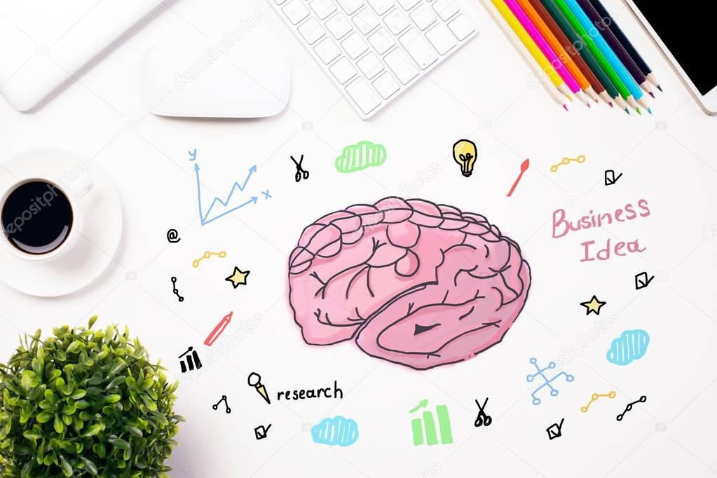 Top view of white office desktop with creative human brain and top view of white office desktop with creative human brain and business icons sketch brainstorming ccuart Choice Image