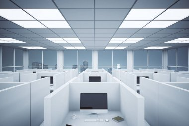 Modern coworking office interior with partitions, computers and night city view. 3D Rendering
