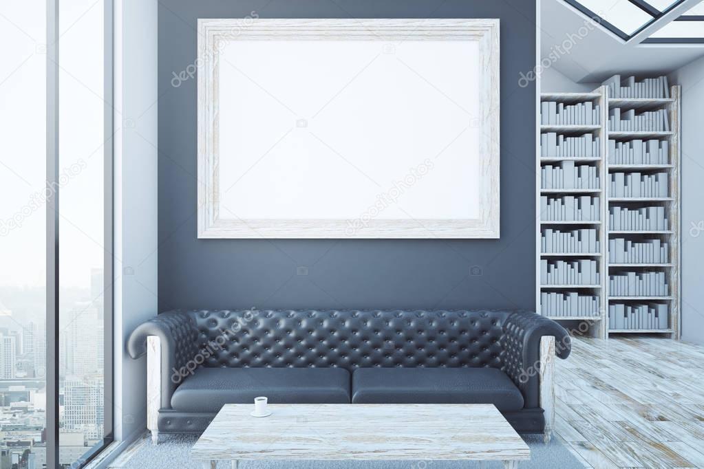 Habitación creativa con marco en blanco, sofá de lujo cuero marrón ...