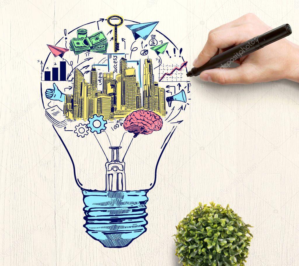 Croquis de cr ation d entreprise color dessin de main l for Idee de creation d entreprise