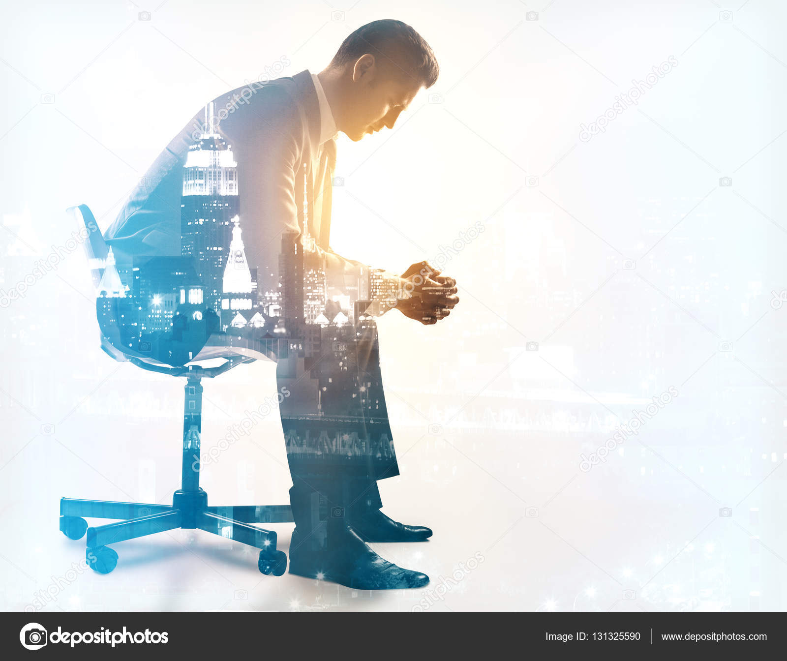 Man sitting in chair side - Side View Of Young Man Sitting On Chair City Background Double Exposure Depression