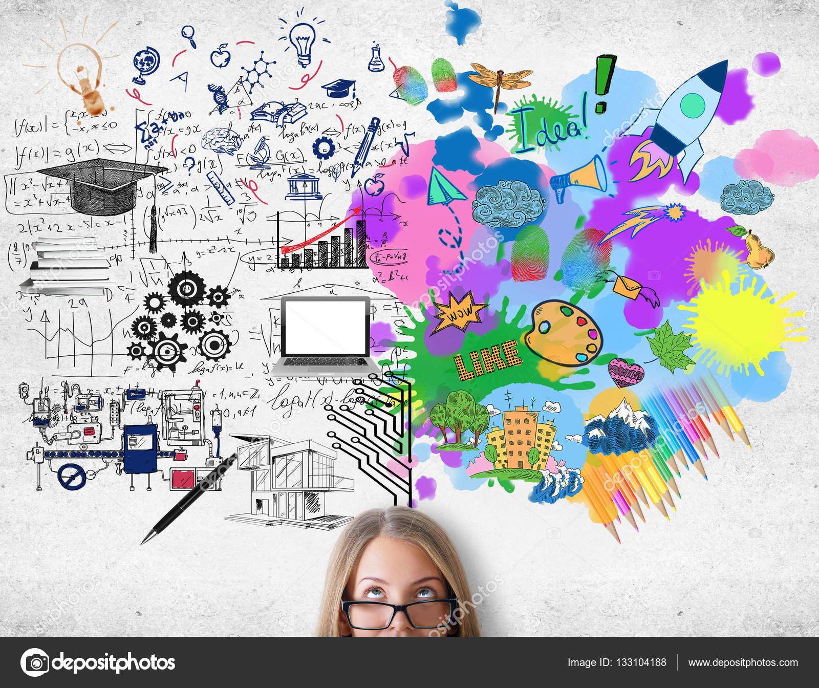 Píntate De Optimismo Y Creatividad: Concepto De Pensamiento Creativo Y Analítico