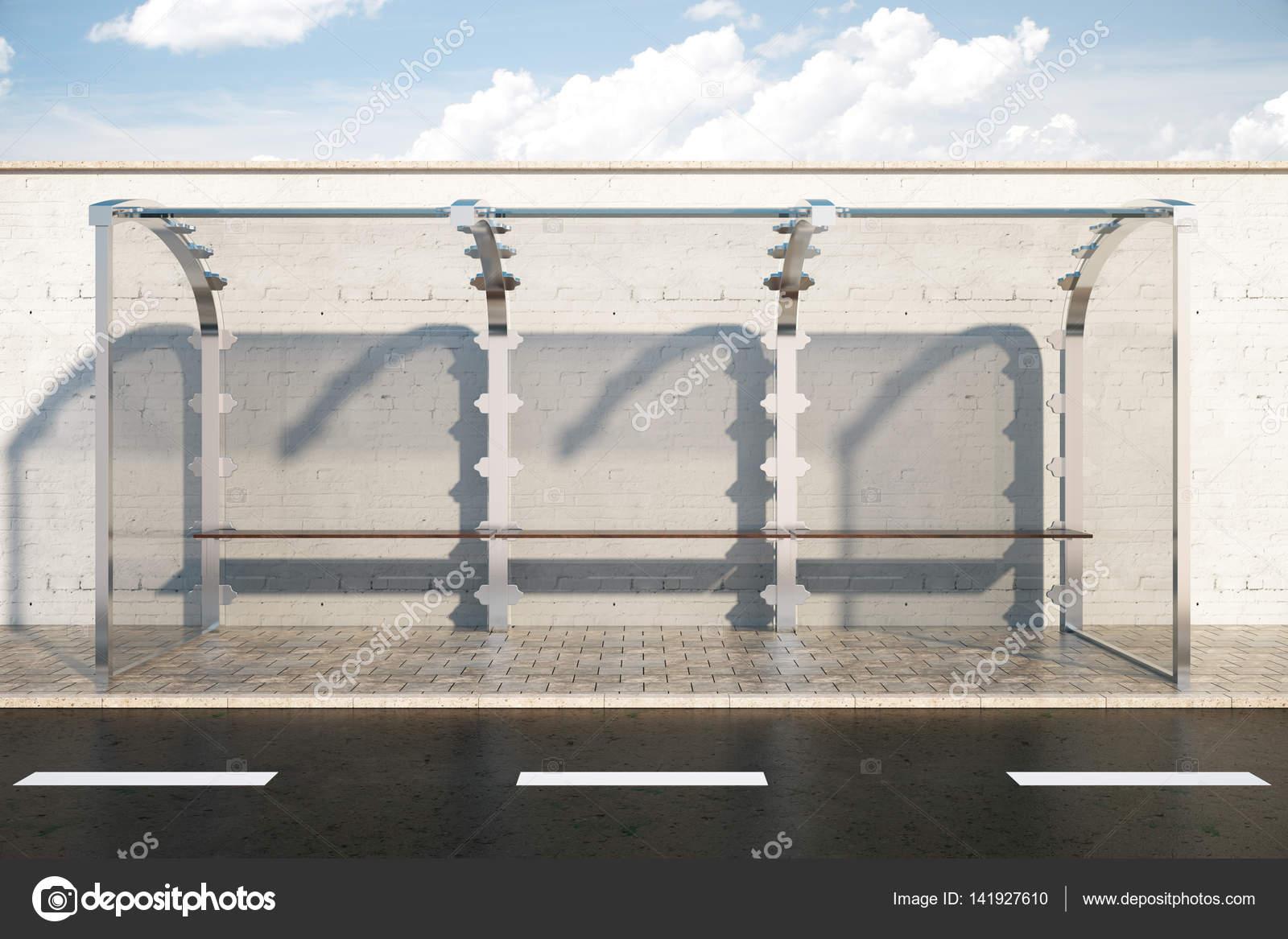 Glas Bushaltestelle vor Zaun Himmelshintergrund 3D rendering