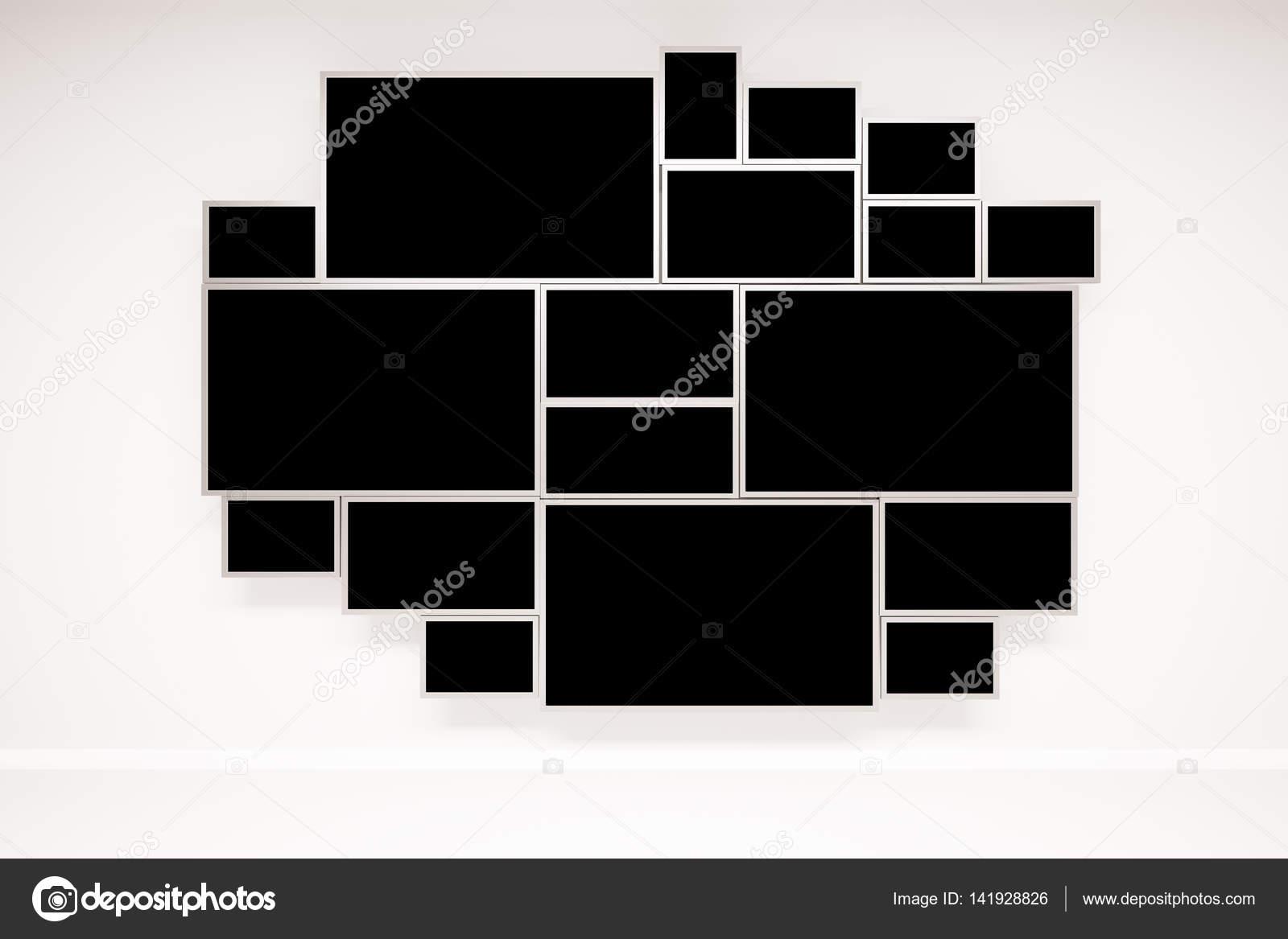 Muro de hormigón con ventana negro enmarcado creativo. Render 3D ...