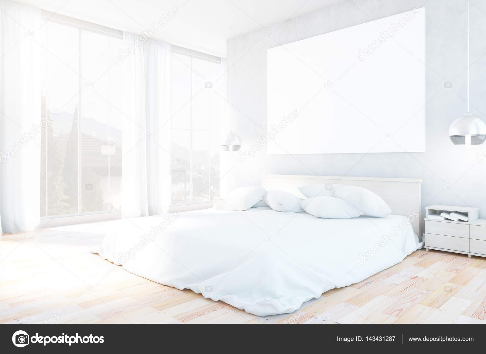 Weiße Schlafzimmer Einrichtung mit Möbeln, leere Whiteboard, Blick ...