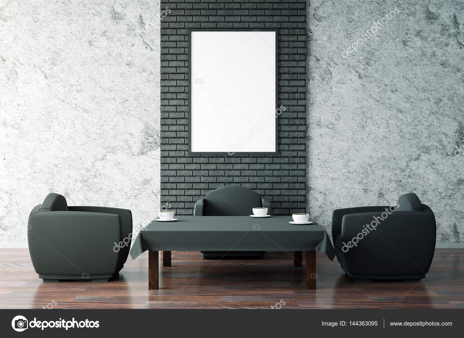 Mesa de café negro y marco blanco — Foto de stock © peshkova #144363095