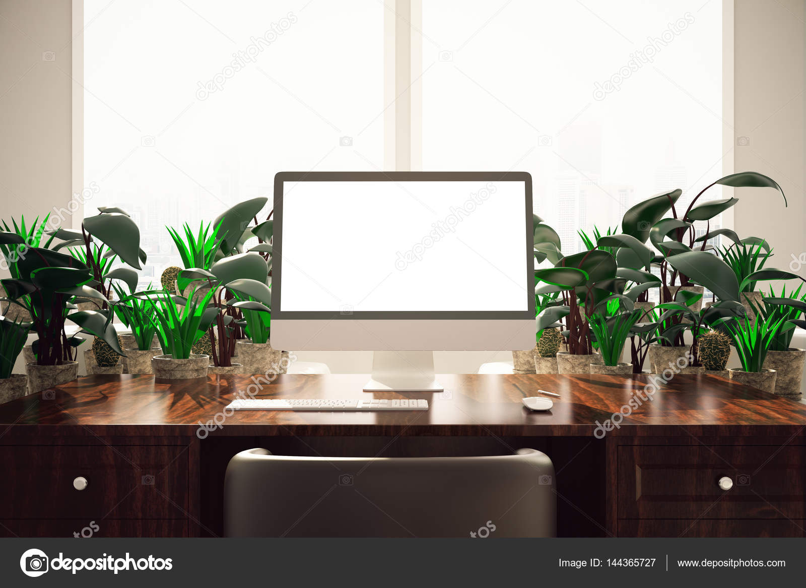 Desktop with pc and plants — Stock Photo © peshkova #144365727