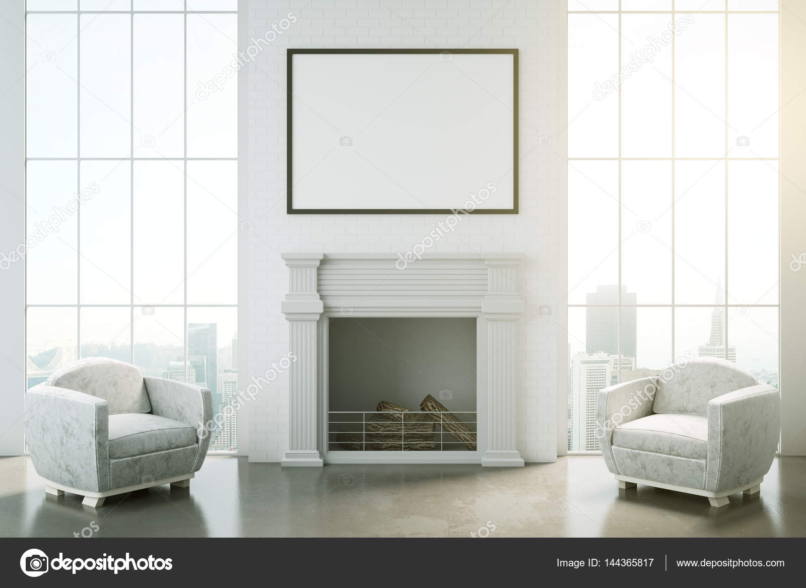 Classic Interior With Fireplace U2014 Stock Photo