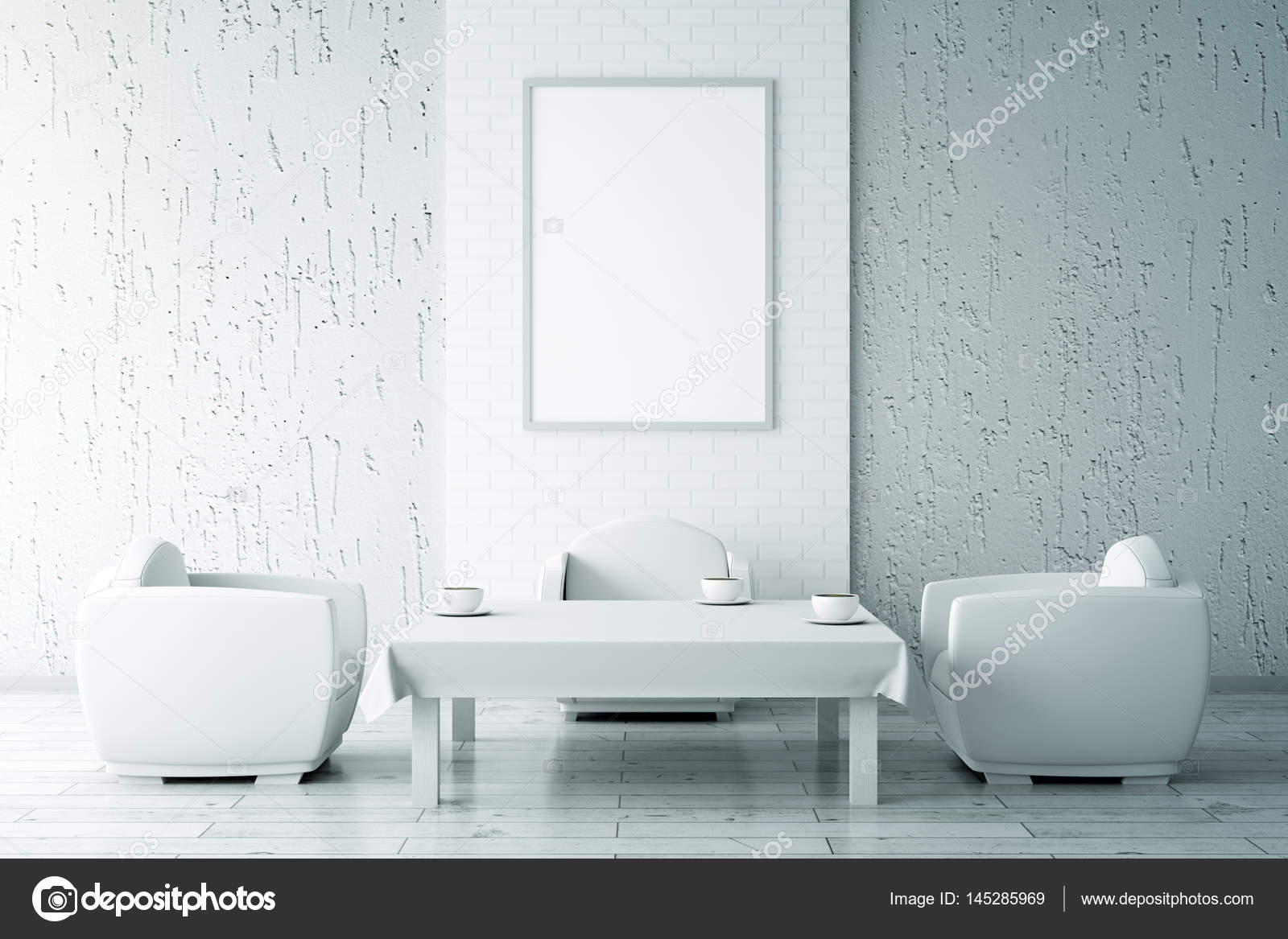 Mesa de centro blanco y el marco en blanco — Foto de stock ...