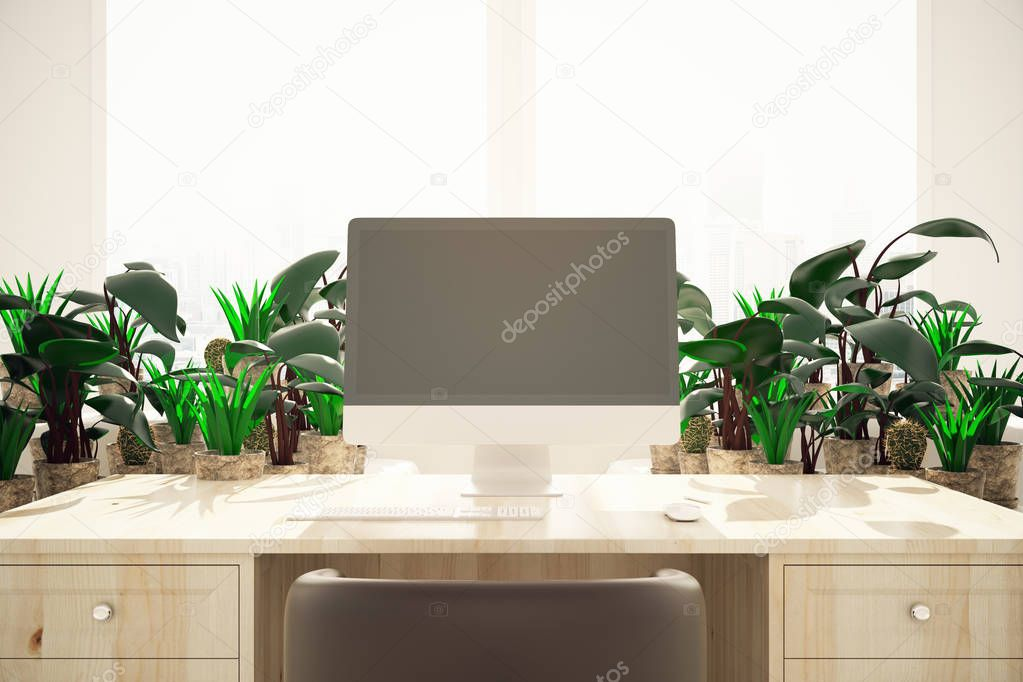 Desktop with computer and plants