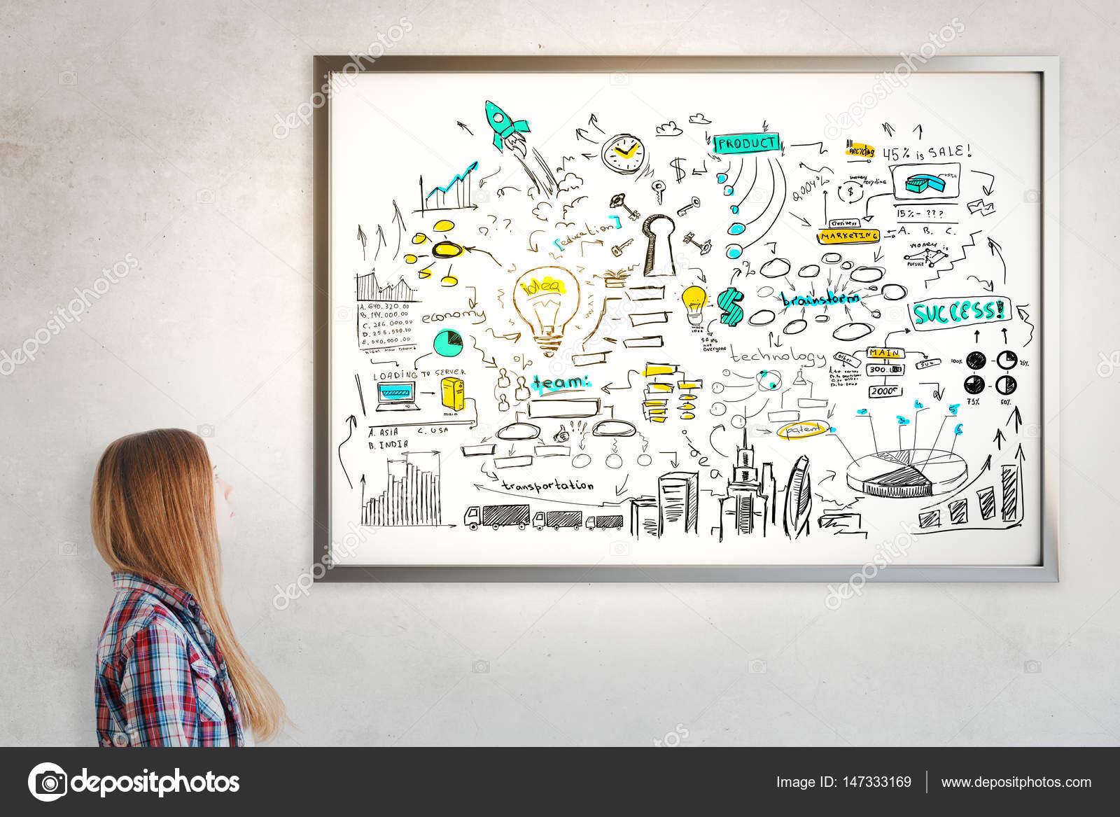 Marco con el croquis del negocio — Fotos de Stock © peshkova #147333169