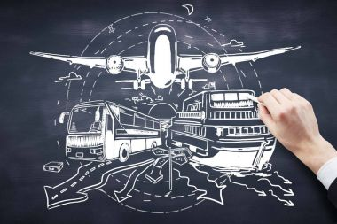 Hand drawing bus, ship and airplane on chalkboard background. Transportation concept