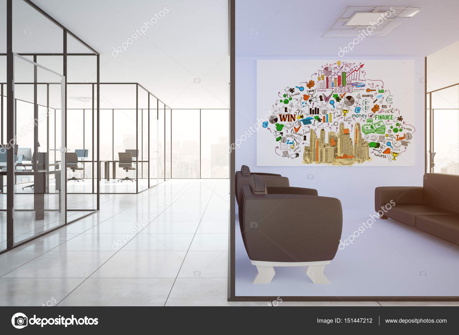 modern office walls. Modern Office Interior With Lounge Area, Workplaces And Business Sketch On Wall. Success Concept Walls