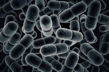 Grey microbe background. 3D Rendering