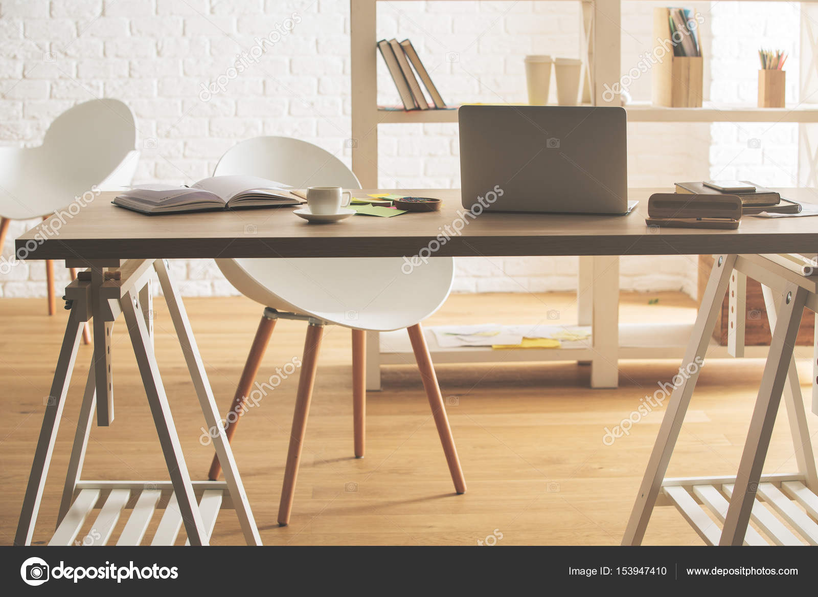 Charmant Hipster Office Interior With Device, Supplies And Coffee Cup On Table U2014  Stock Photo