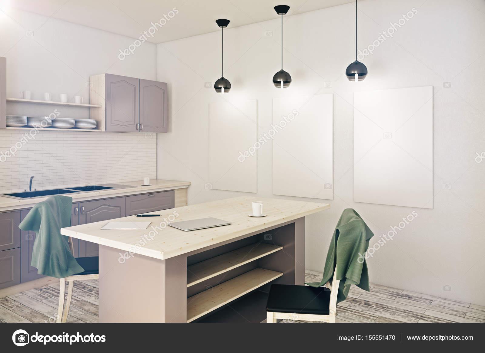 Moderne küche mit poster u stockfoto peshkova