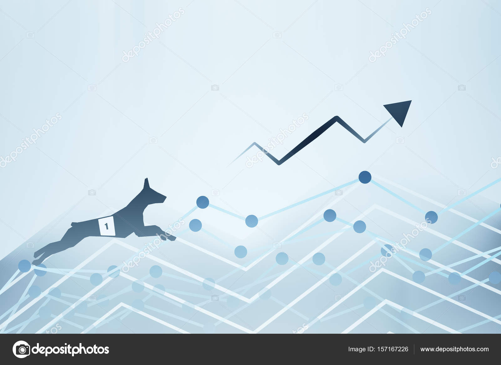 Side View Of Abstract Dog Figure Running Up Business Charts