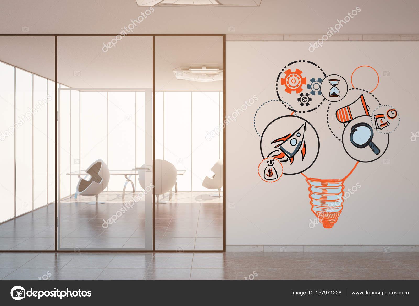 Bureau moderne de béton intérieur avec la lumière du soleil et