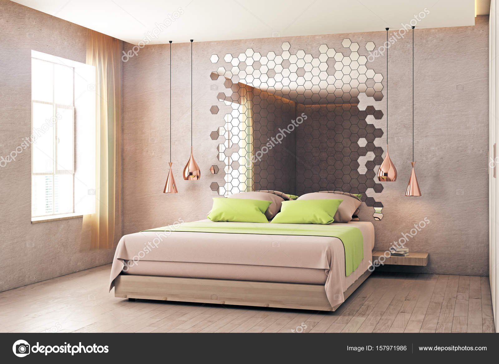 Interior De Dormitorio Creativo Con Muebles Espejo Hexagonal Y  # Muebles Solares
