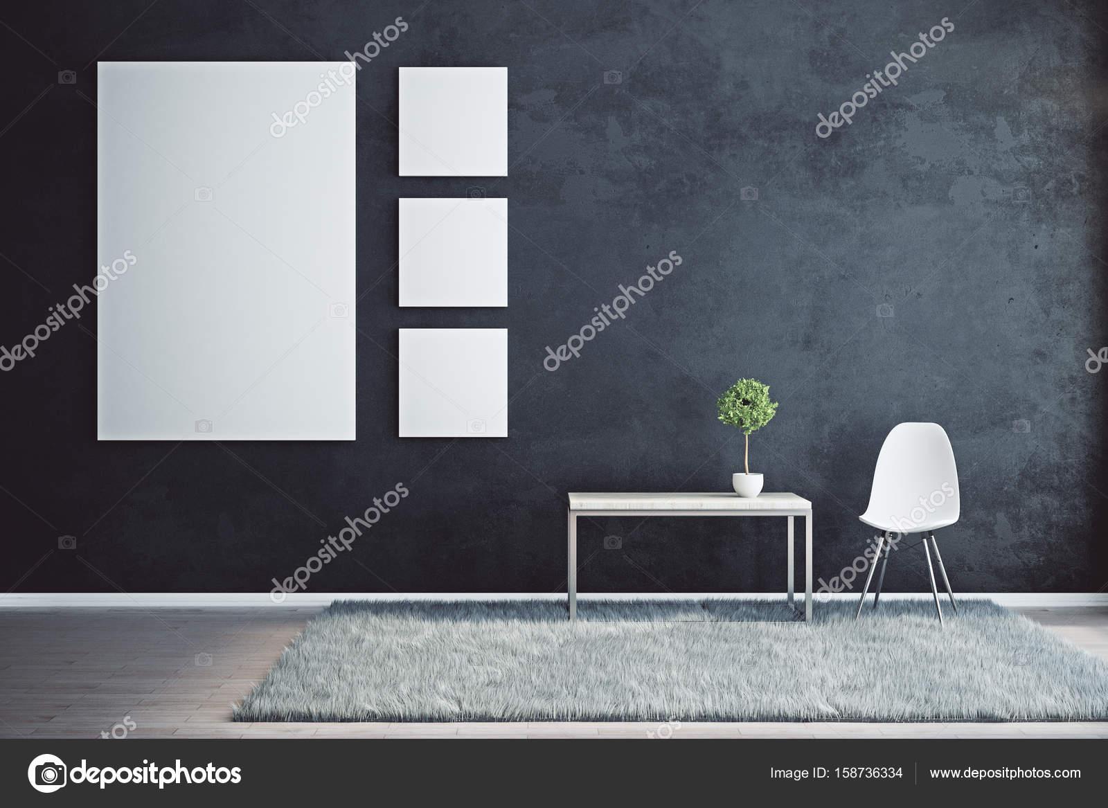 Zwart interieur met leeg canvas — Stockfoto © peshkova #158736334