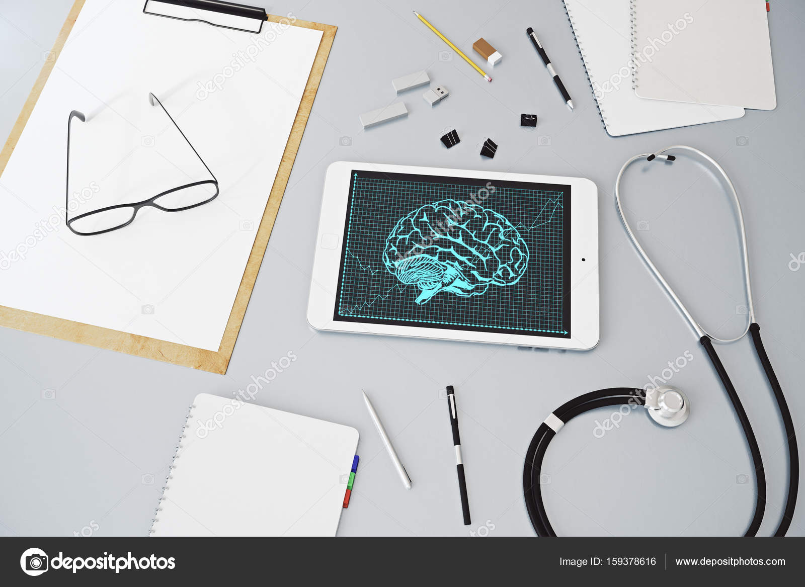 Draufsicht der grauen Arzt Desktop mit Zubehör, Stethoskop und ...