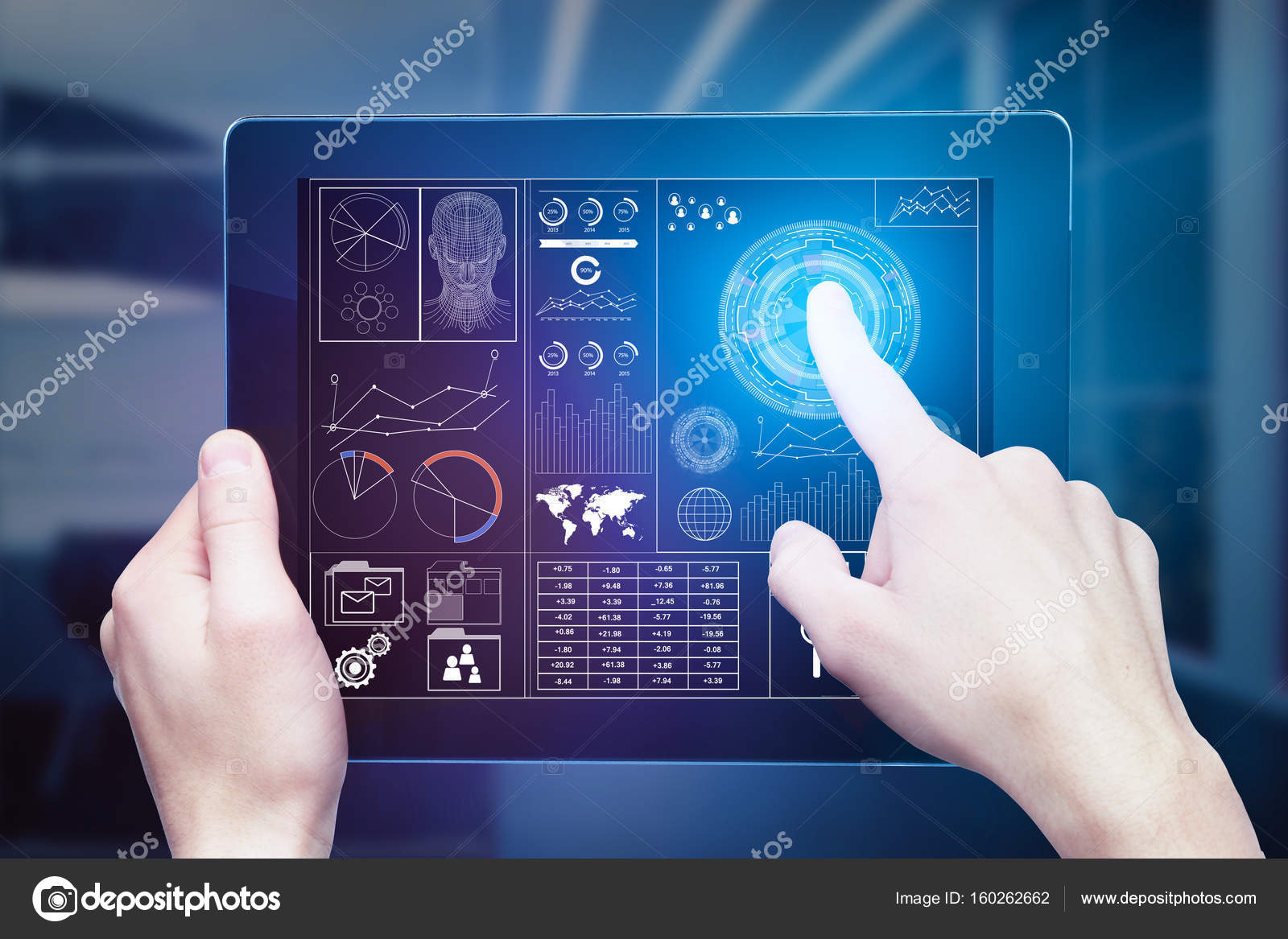 Businessman using tablet with abstract digital business