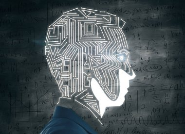 Side view of abstract male head outline with circuit board on chalkboard background with mathematical formulas. Science concept. 3D Rendering