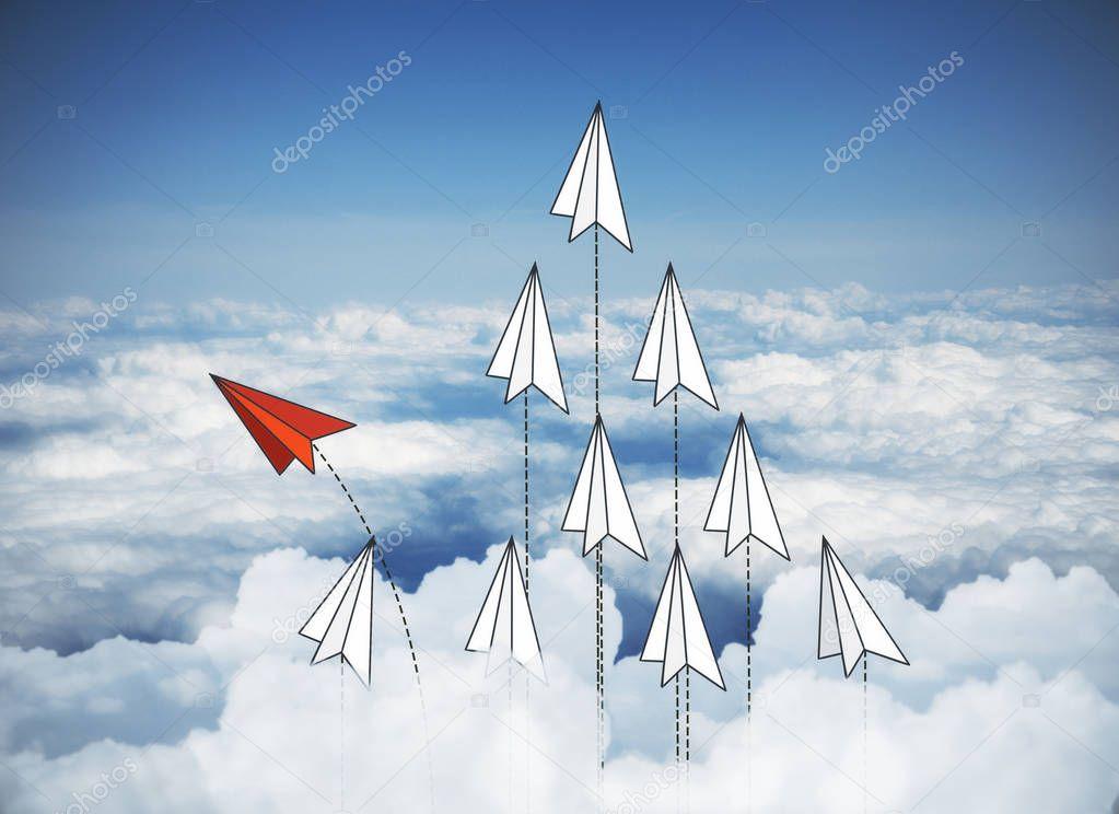 Paper planes on sky bakcground