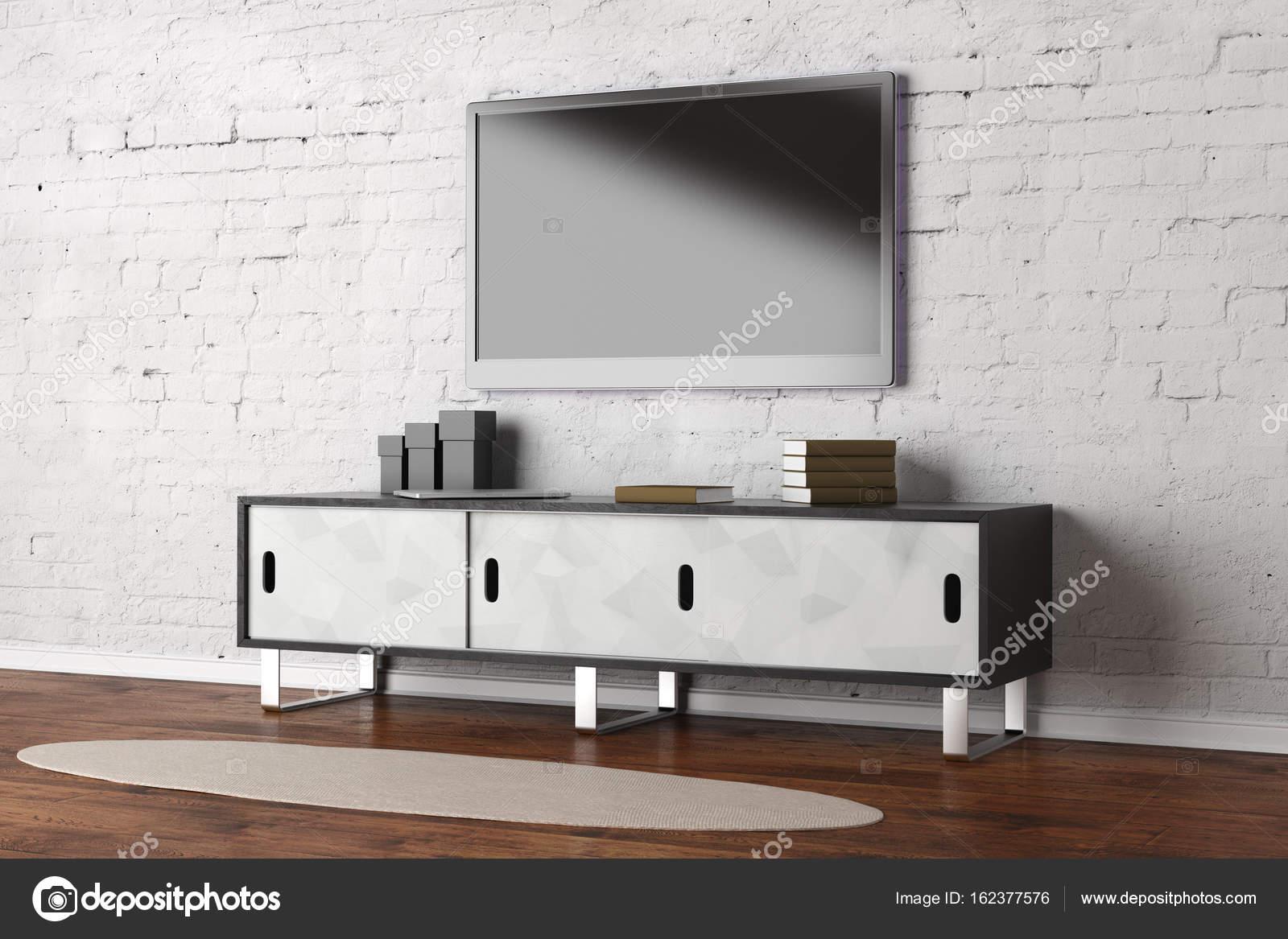 Tv In Vloer : Tv toestel met leeg scherm in woonkamer interieur met houten vloer