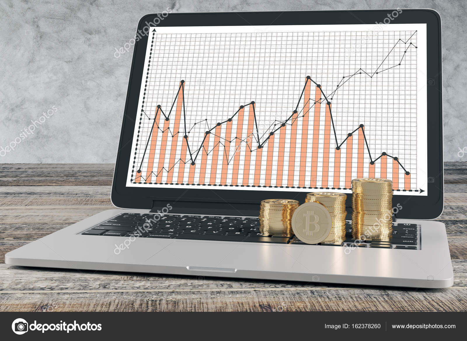 Shiny Bitcoins On Laptop Keyboard With Business Charts On Screen