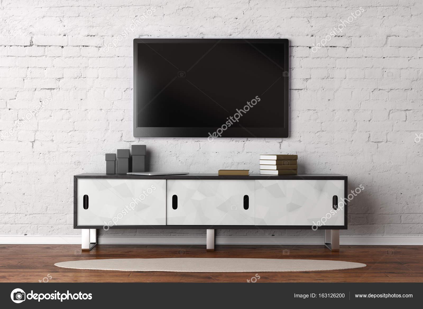Living room with empty TV monitor — Stock Photo © peshkova #163126200