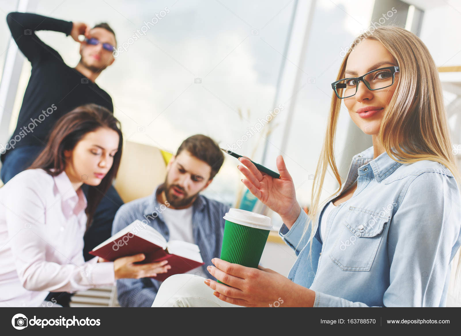 european cup office coffee. Portrait Of Attractive European Caucasian Men And Women With Book Coffee Cup In Modern Office \u2014 Photo By Peshkova