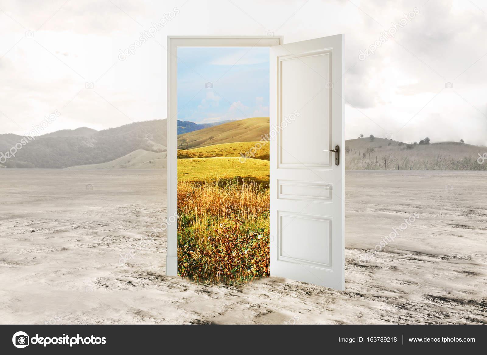 Abstract open door with summer landscape view in desert. Opportunity concept. 3D Rendering u2014 Photo by peshkova & Abstract open door with summer landscape view in desert. Opportunity ...