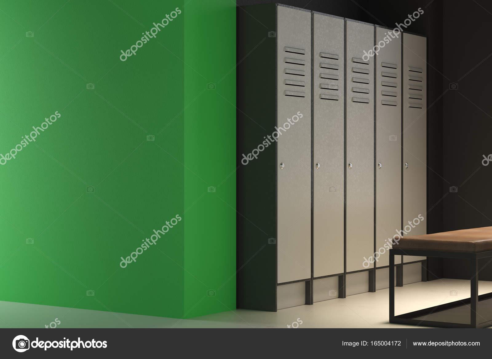 Contemporain de vestiaire verte avec mur vide — Photographie ...