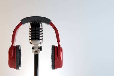 Headphones and mic, music concept