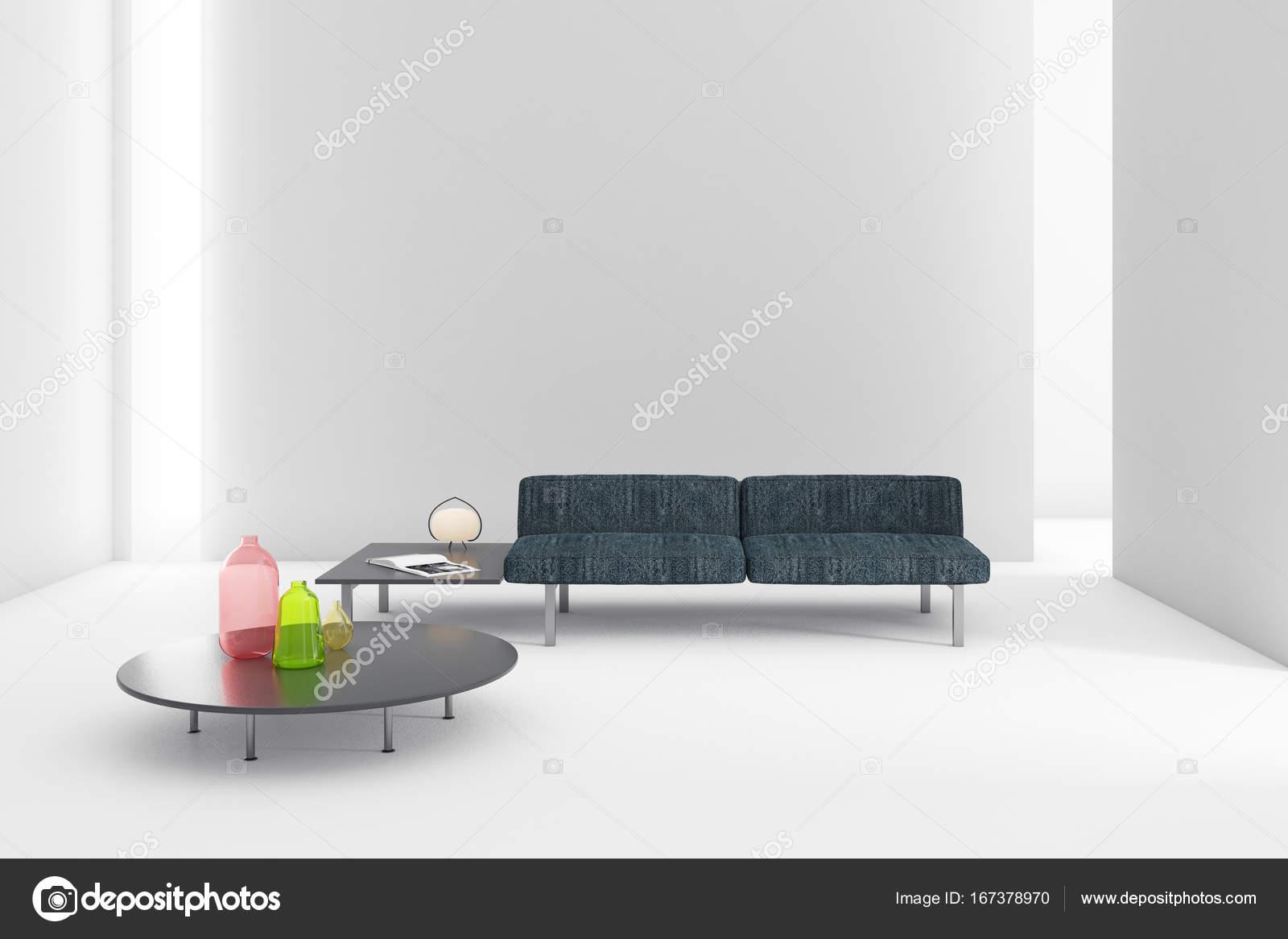 Blanco brillante interior de sala de estar con muebles. Render 3D ...