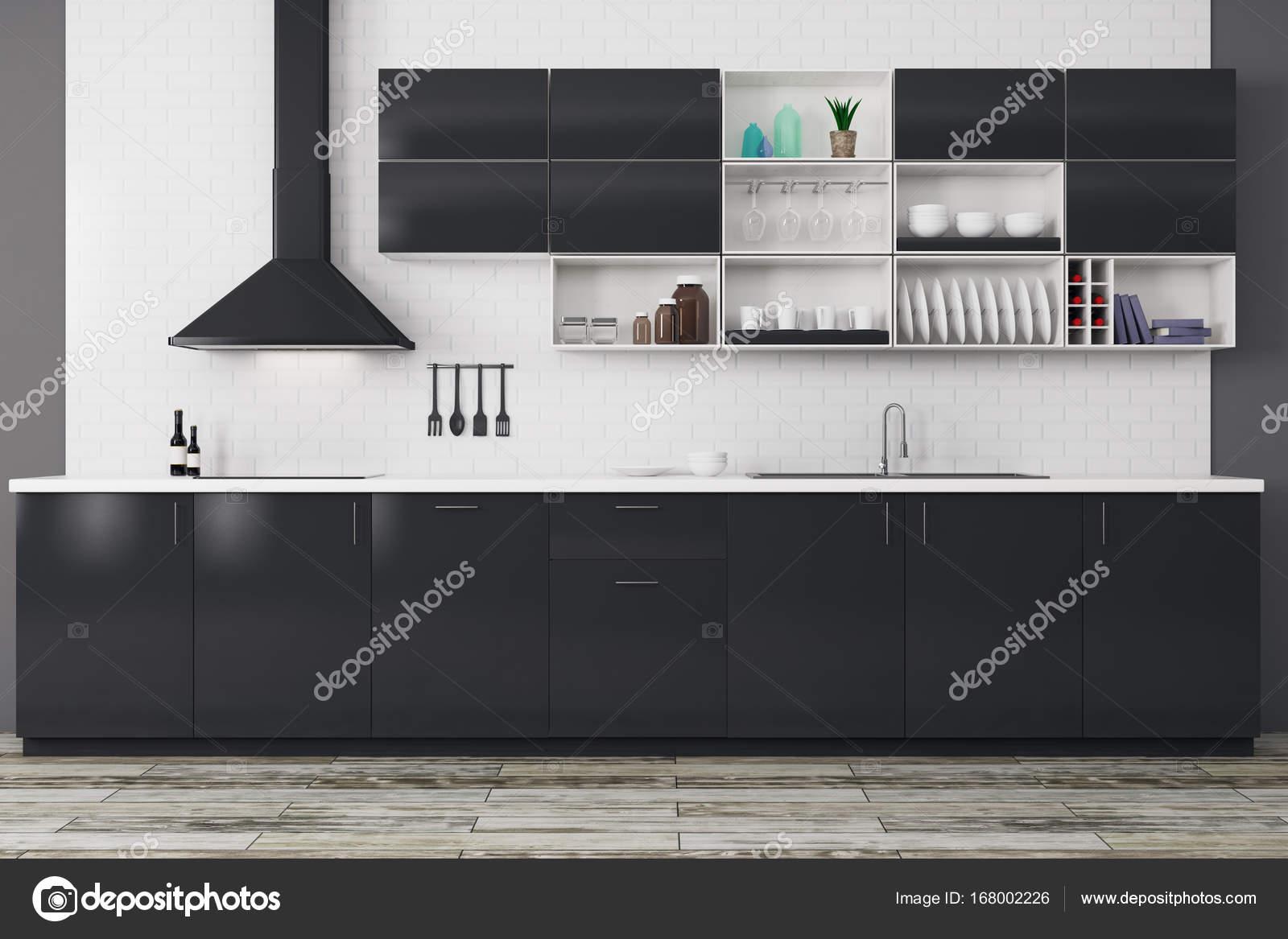 Moderne Zwarte Keuken : Moderne zwarte keuken u2014 stockfoto © peshkova #168002226