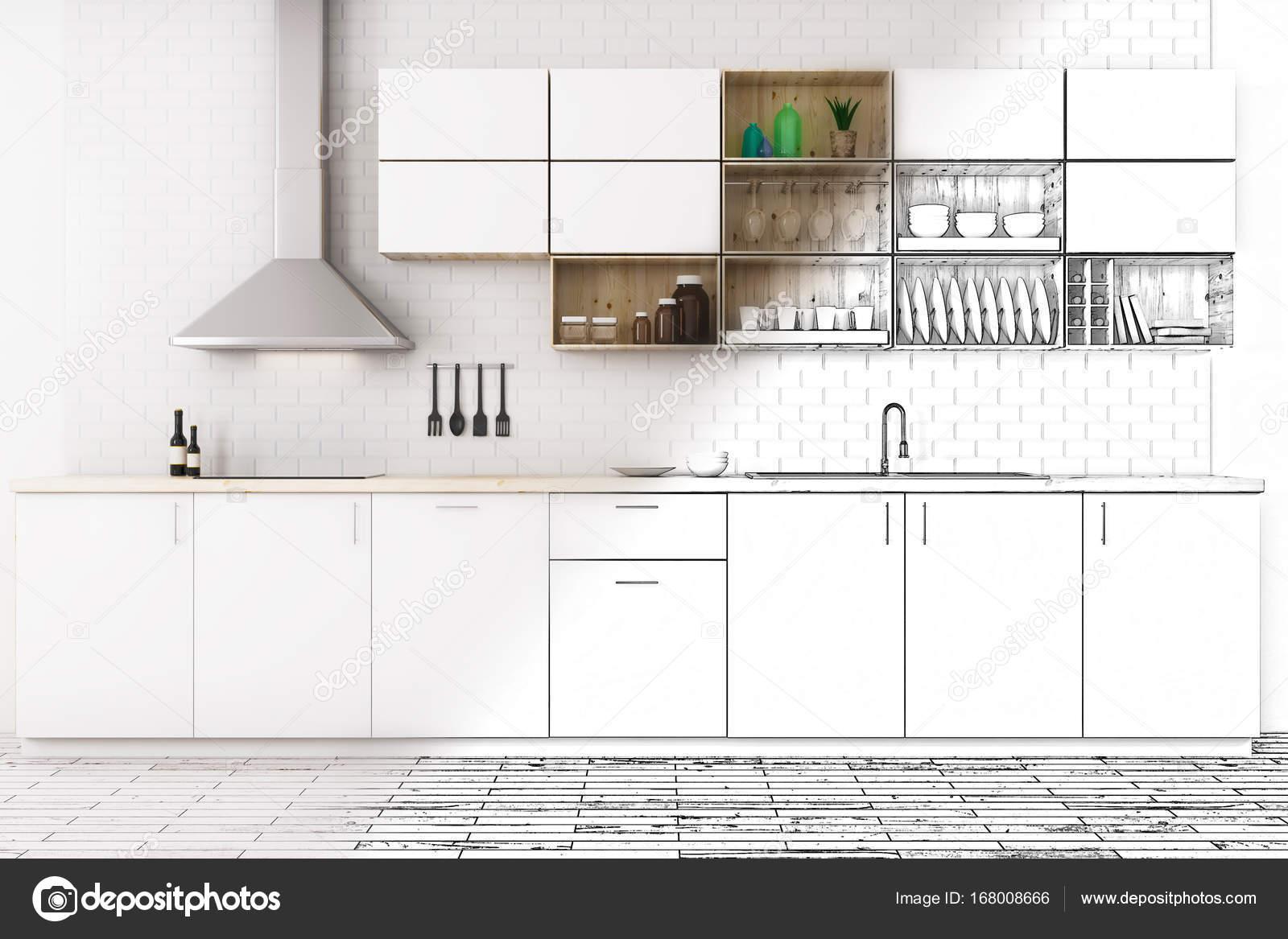 Unvollendete Moderne Kuche Interieur Skizze Architektur Konzept 3D Rendering Foto Von Peshkova