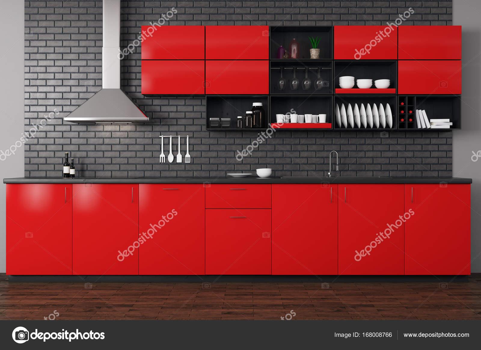 cucina moderna rossa — Foto Stock © peshkova #168008766