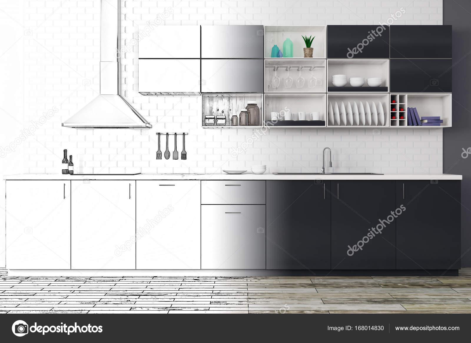 Unvollendete Moderne Küche Interieur Skizze. Projekt-Konzept. 3D ...