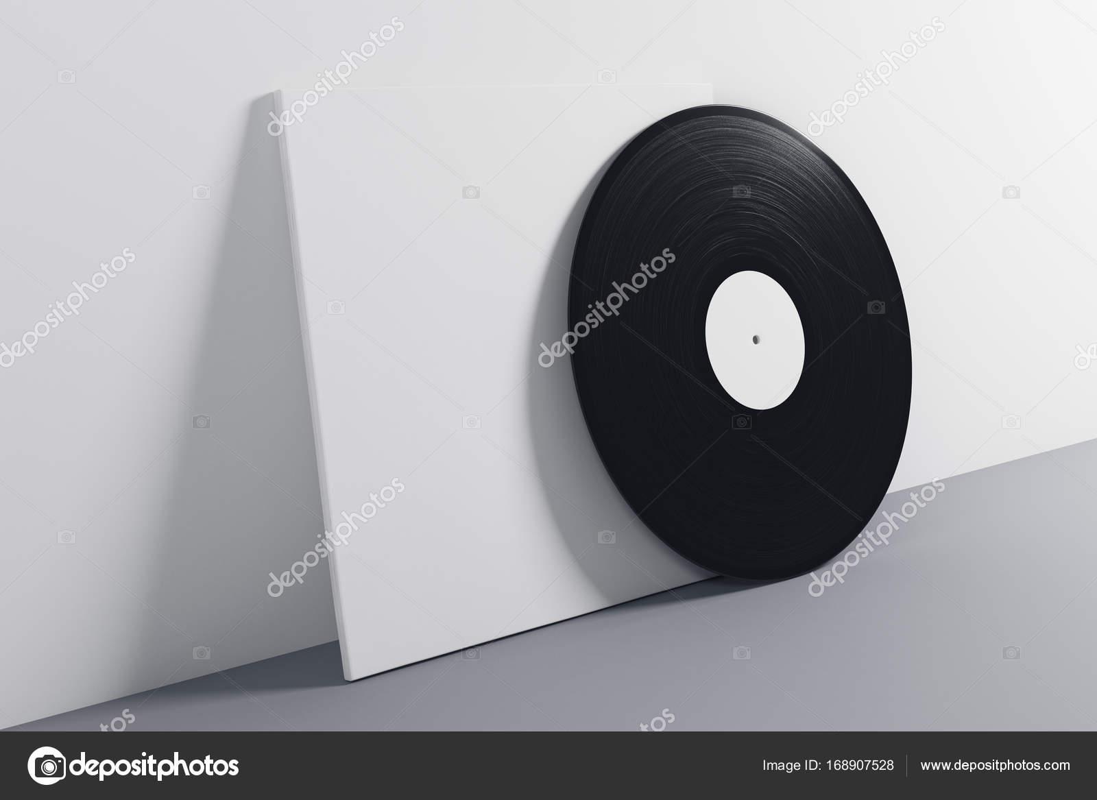 Zwart wit vinyl mouw op grijze achtergrond verouderd begrip mock
