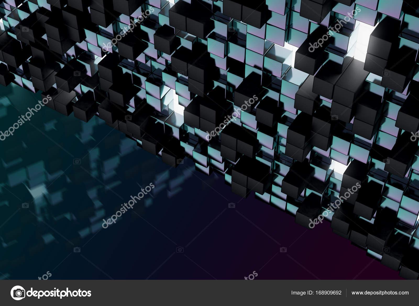 Abstract Dark Cube Wallpaper Geometry Design Concept 3D Rendering Photo By Peshkova