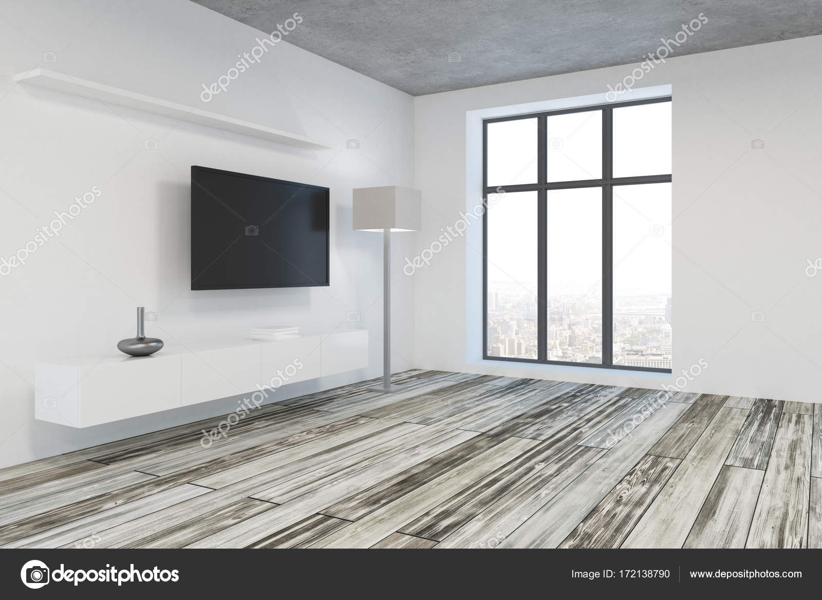 Modern Living Room With Blank Tv Side Stock Photo Image By Peshkova 172138790