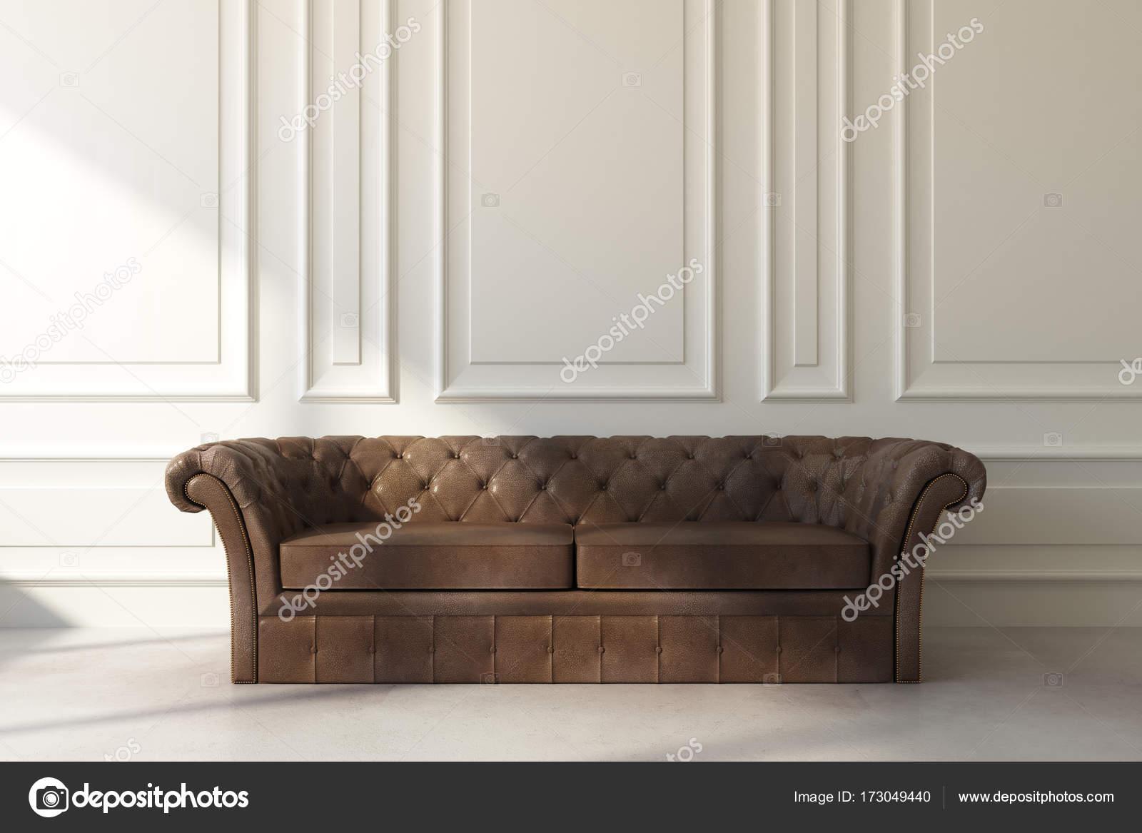 Braune Ledercouch Im Classic Zimmer Stockfoto Peshkova