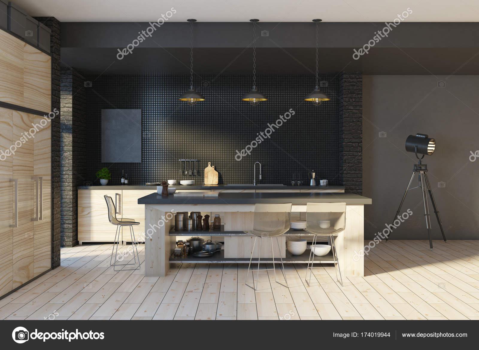 Keuken Moderne Zwart : Moderne loft zwart keuken interieur u stockfoto peshkova